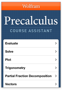 wolfram course assistant apps precalculus step by step homework help
