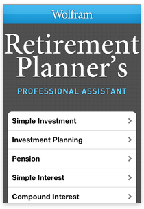 wolfram professional assistant apps retirement planning calculator